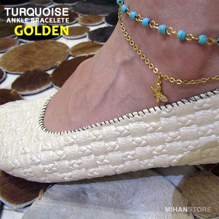 پابند سنگ فیروزه رنگ طلایی و نقره ای