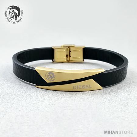دستبند مردانه زنانه چرم طرح Diesel