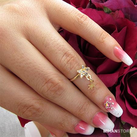 انگشتر بند انگشتی آویزدار طلایی