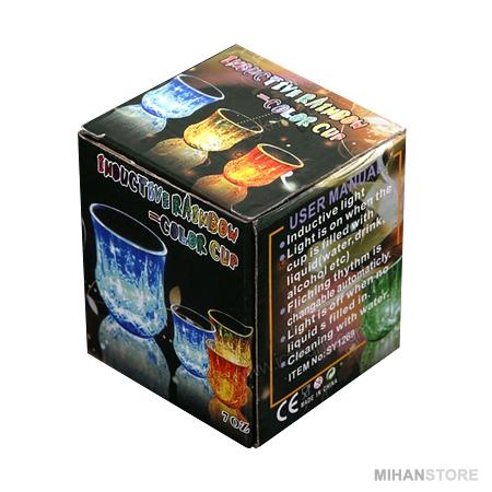 لیوان جادویی هفت رنگ دارای LED