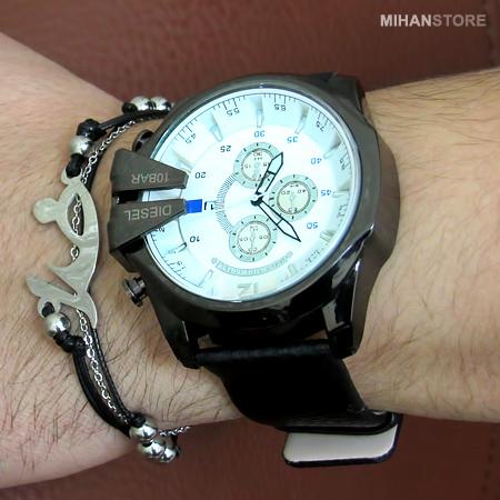 دستبند چرم و استیل طرح خدا