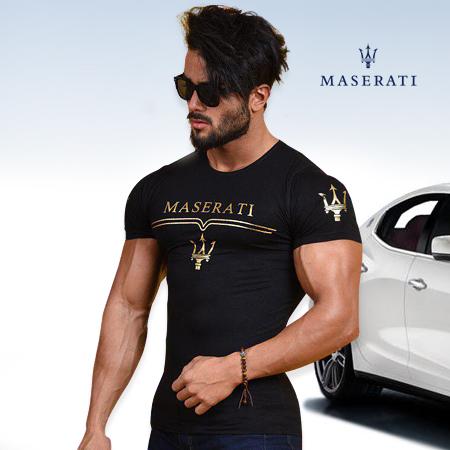 تیشرت مشکی مردانه مازراتی Maserati