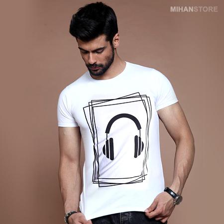 تیشرت سفید مردانه طرح هدفون Headphone