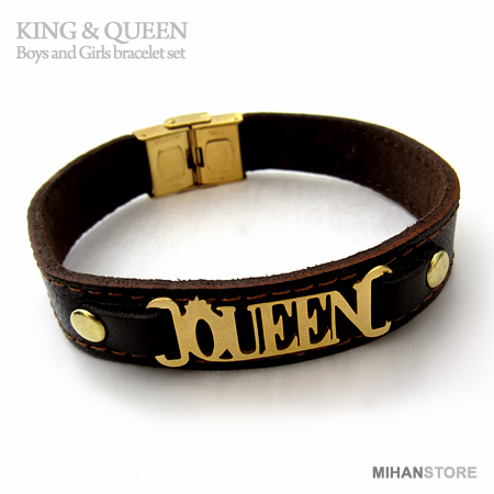 دستبند چرم کویین QUEEN ، کینگ King
